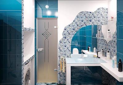 Gambar Wallpaper Desain Dinding Kamar Mandi Modern Minimalis Model Terbaru