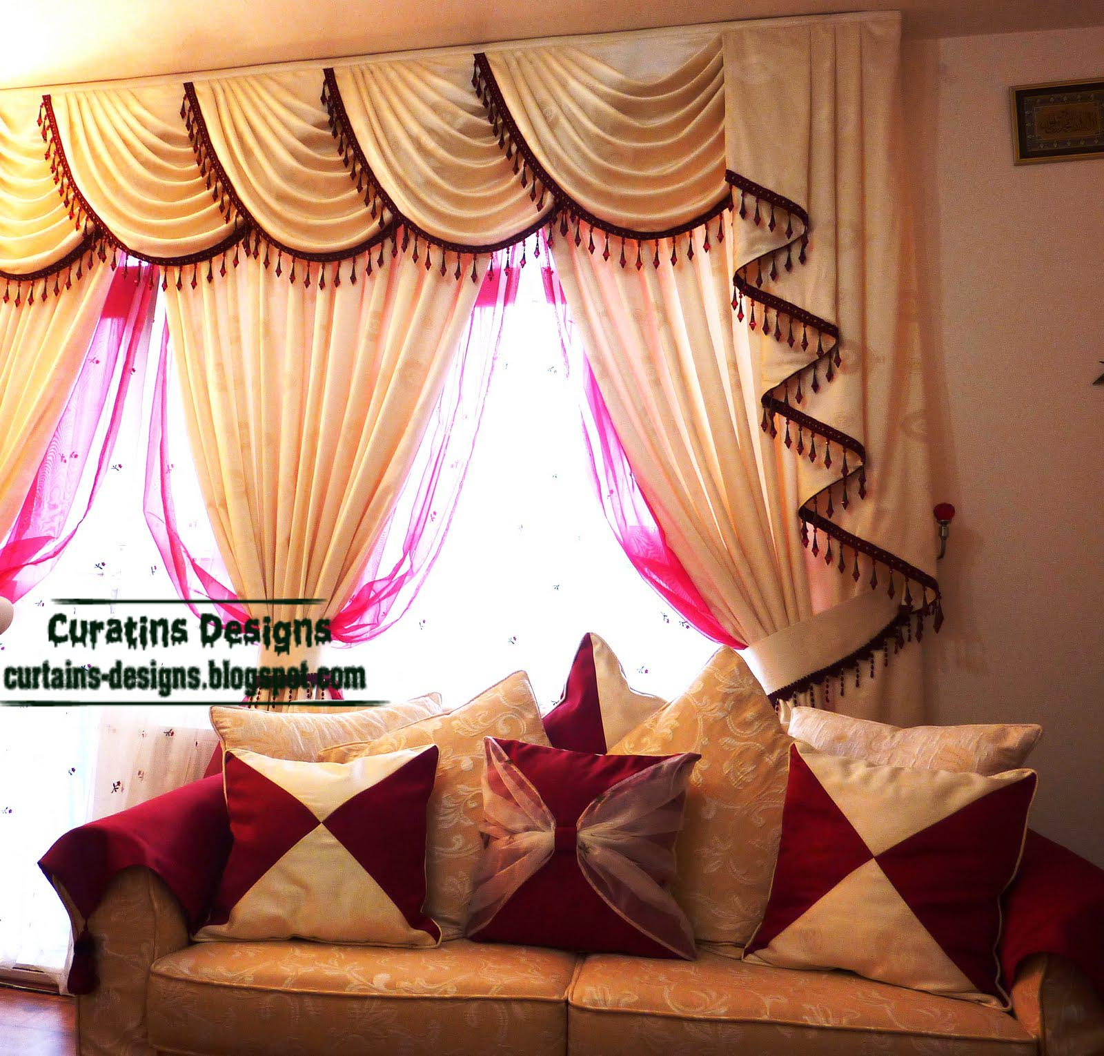 Indian drapes curtain design for living room beige - Living room curtains photos ...