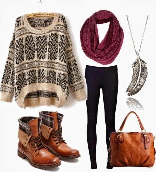 Knit Sweater With Black Leggings And Leather Boots