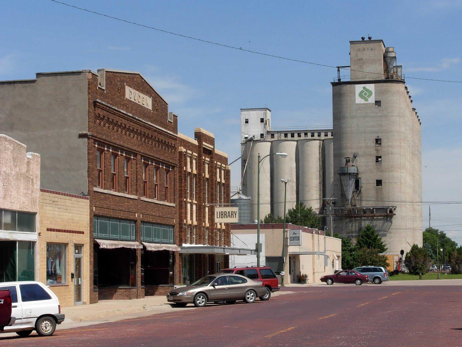 Railroad + grain silos + townschuyler town