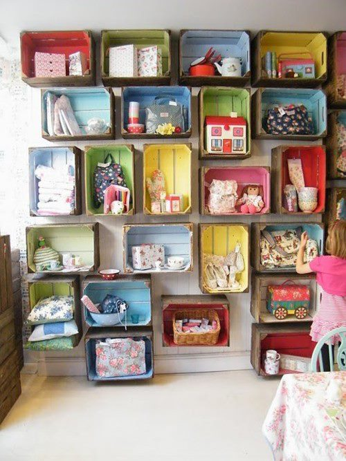 Colourful Storage Shelves Made From Old Boxes Via Dyingofcute