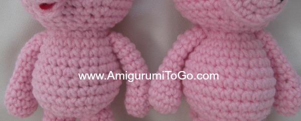 coser los brazos al cerdito amigurumi
