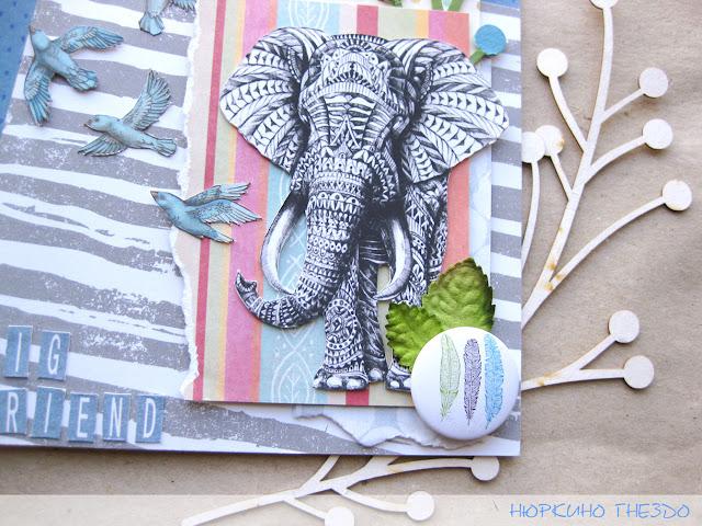 Слон в стиле дудлинг