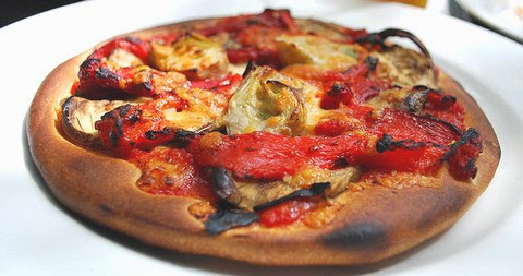 Eggplant and Artichoke Pizza with Goat Cheese and Tomatoes