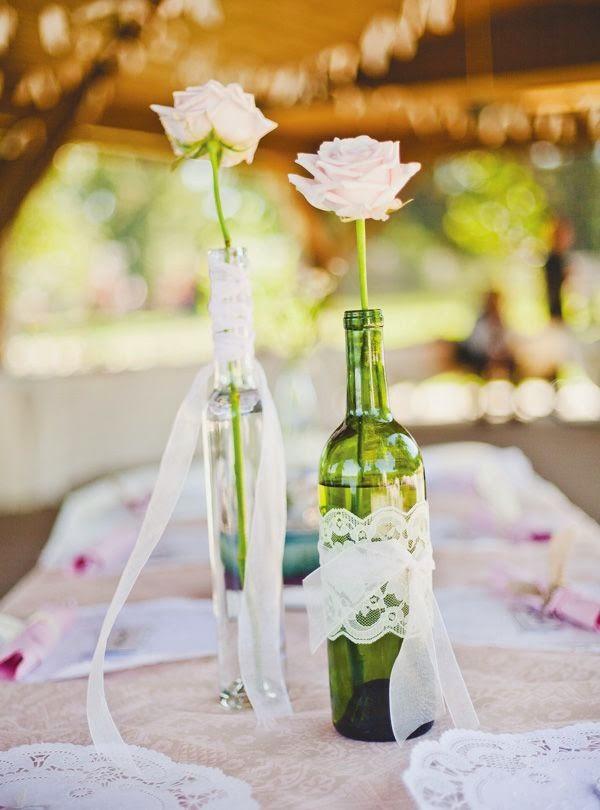 9 Centros de mesa para boda econmicos con botellas