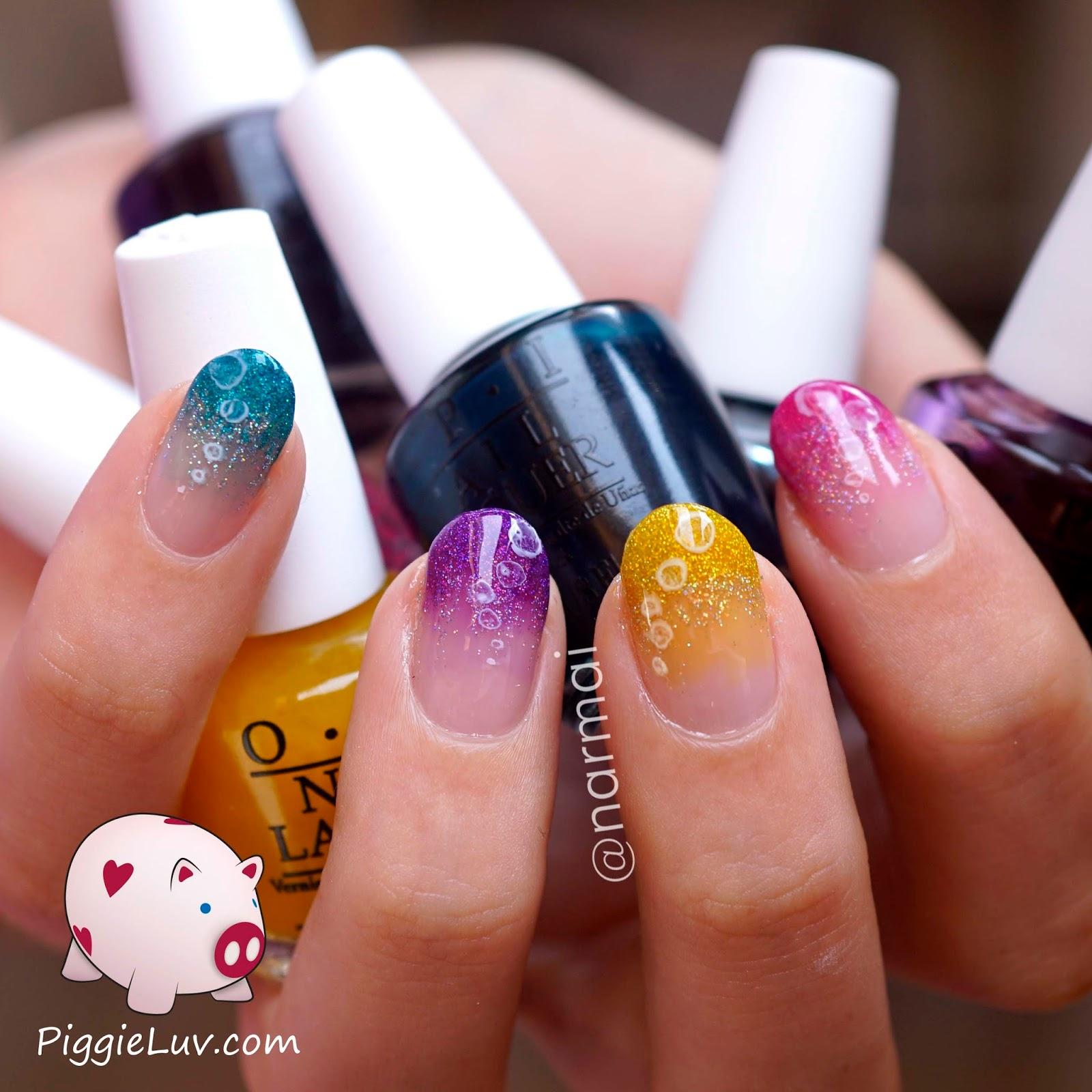 Piggieluv Rainbow Bubbles Nail Art: PiggieLuv: Glitter Bubbles Nail Art With OPI Color Paints