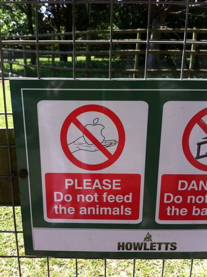 Please Do Not Feed The Animals With Apple Products