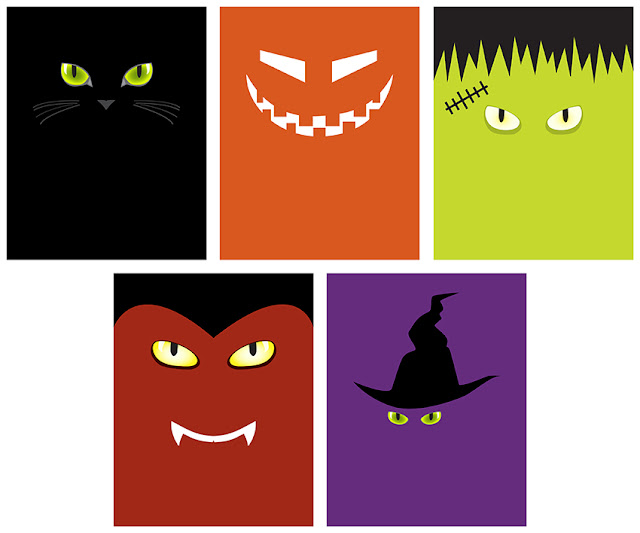 The petite pear blog minimalist halloween faces printable - Printable halloween decorations ...