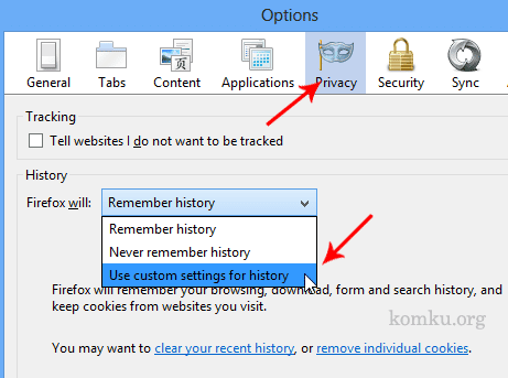 firefox - custom settings for history