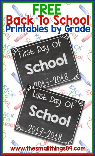 2017-2018 Back To School Printables