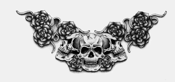 Skulls with Rose Tattoo Drawings