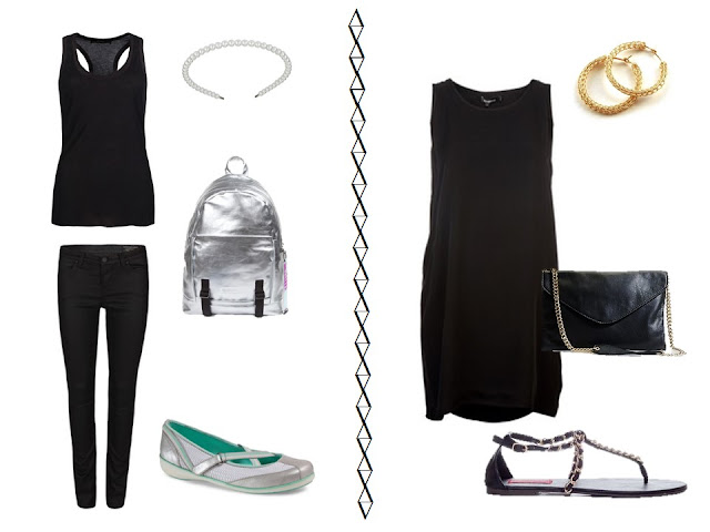 black tank and jeans with silver casual accessories and black dress with gold chain accessories
