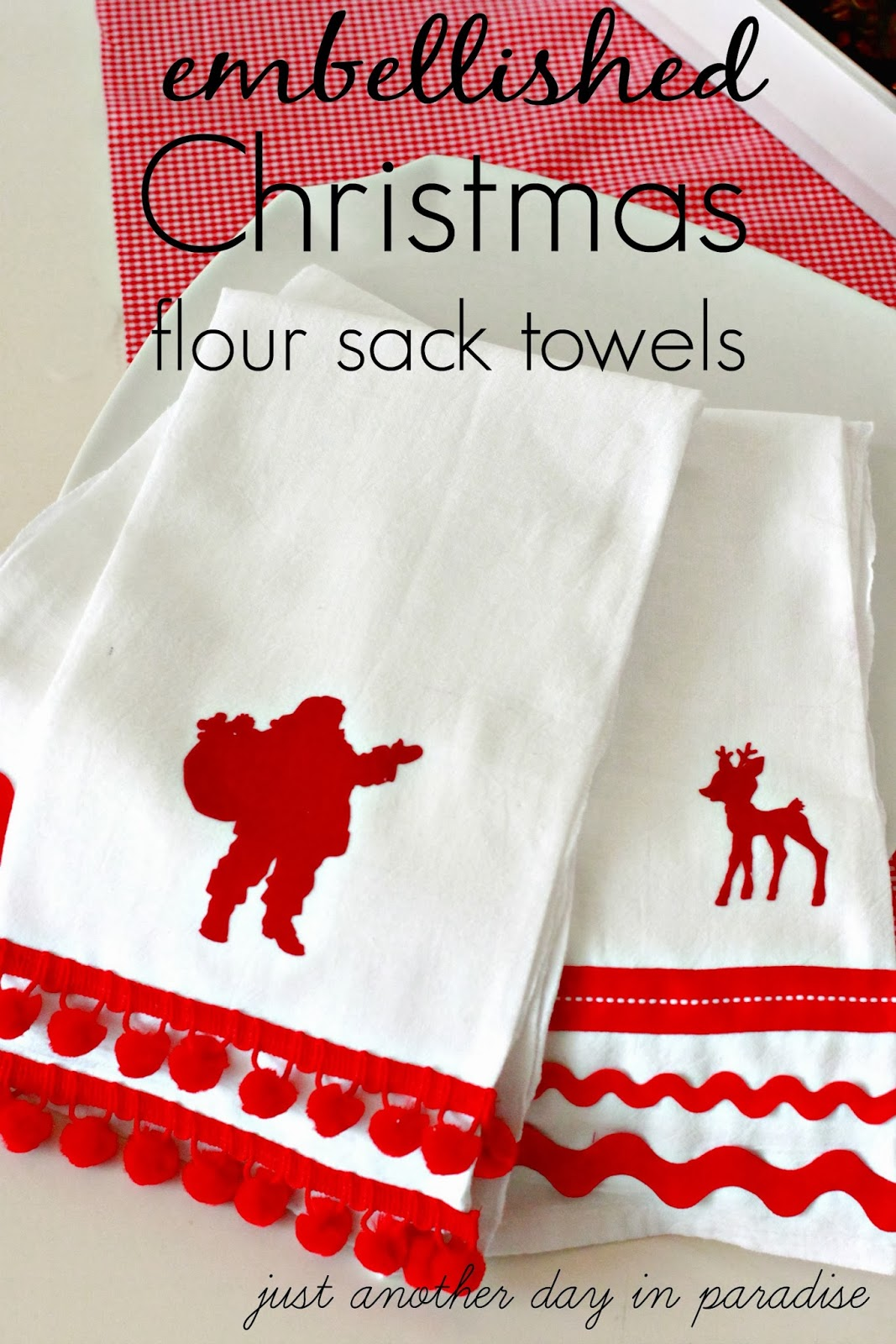 Larissa Another Day Embellished Christmas Flour Sack Towels