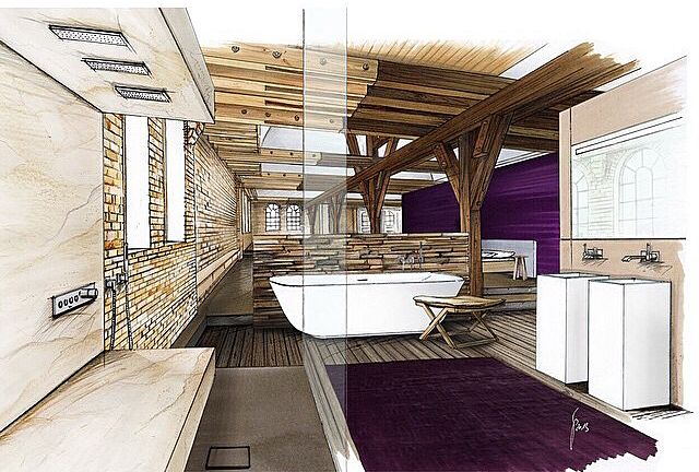 Dise o de interiores escuela de arte de motril bocetos de arquitectura e interiorismo en las - Boceto interiorismo ...