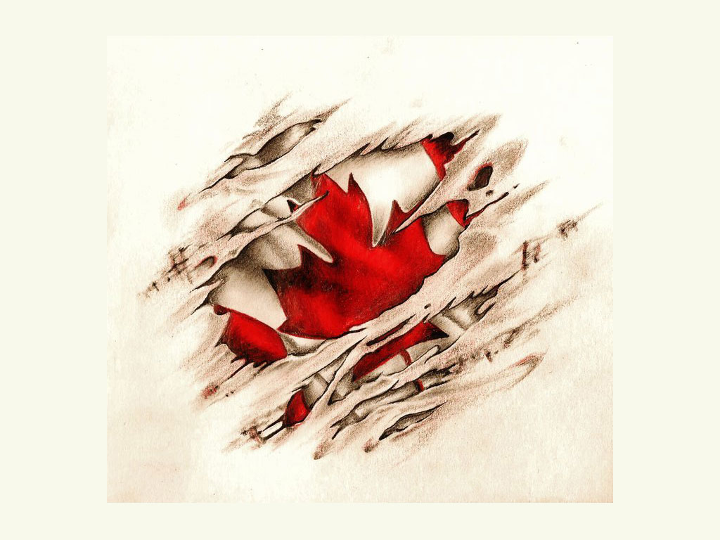 canadian scratched vintage flag tattoo