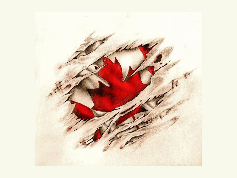 tattoo design of scratched flag of canada great looking red color with  title=