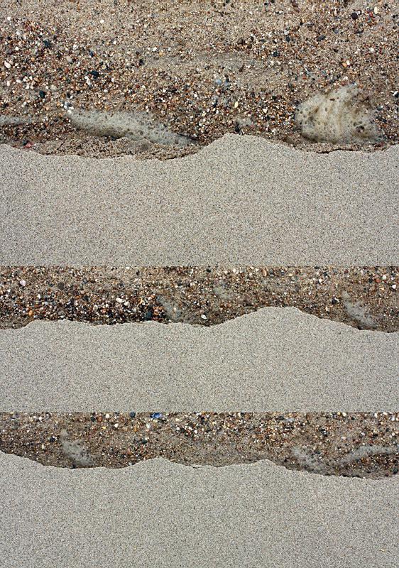 Três fotos agupadas em pilha, todas relativas a zonas de transição entre areia lisa e fina e areão e cascalho