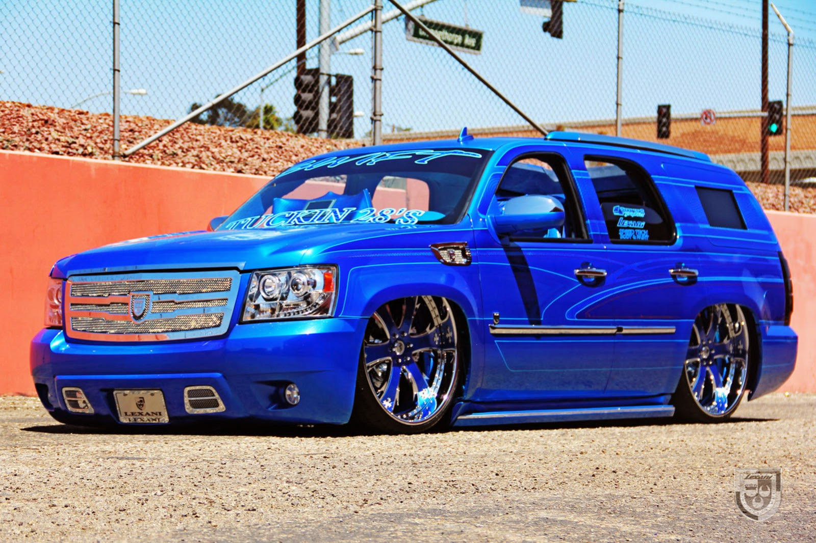 Blue Chevy Tahoe with Rims