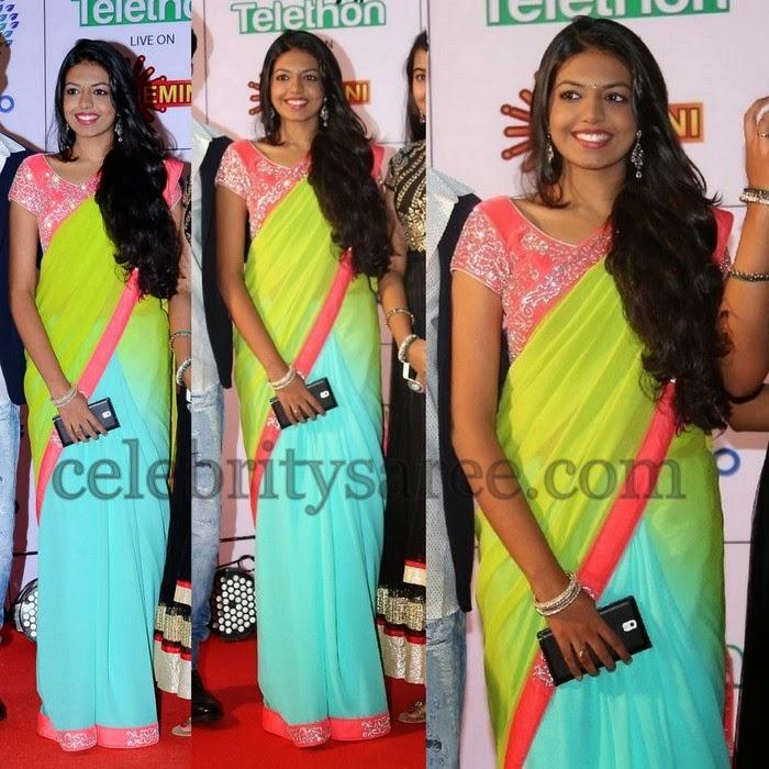 Rajashekar Daughter Dual Color Saree