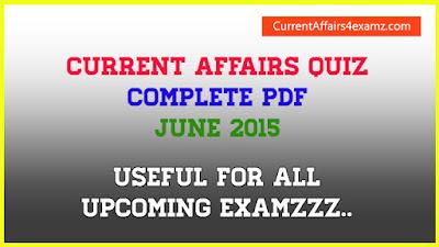Current Affairs PDF June 2015