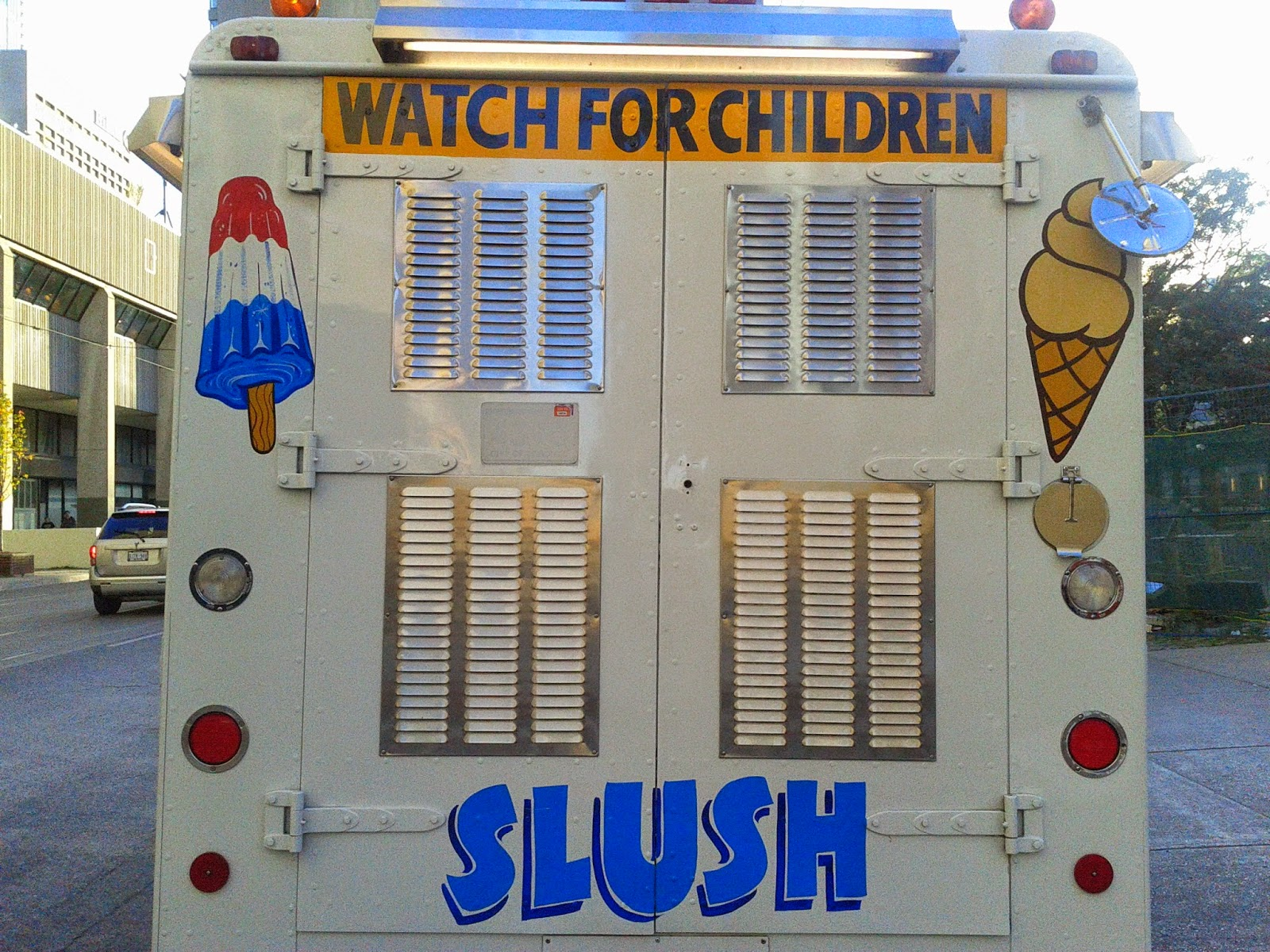 Stock photo: Back of Ice Cream truck (Watch for Children)