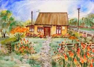 Very Charming Country Cottage with Garden (4) Watercolor on paper, 29.5x42cm