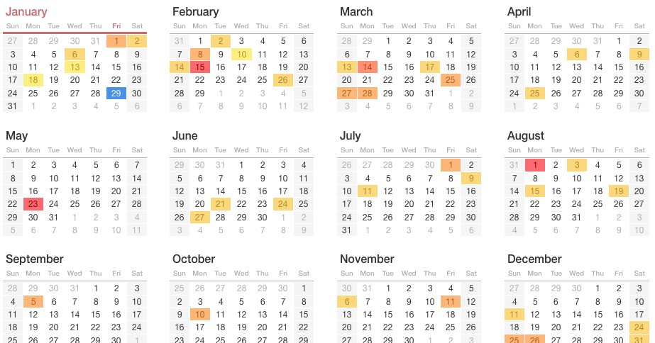 2016 Monthly Auto Sales Calendars And Selling Days For ...