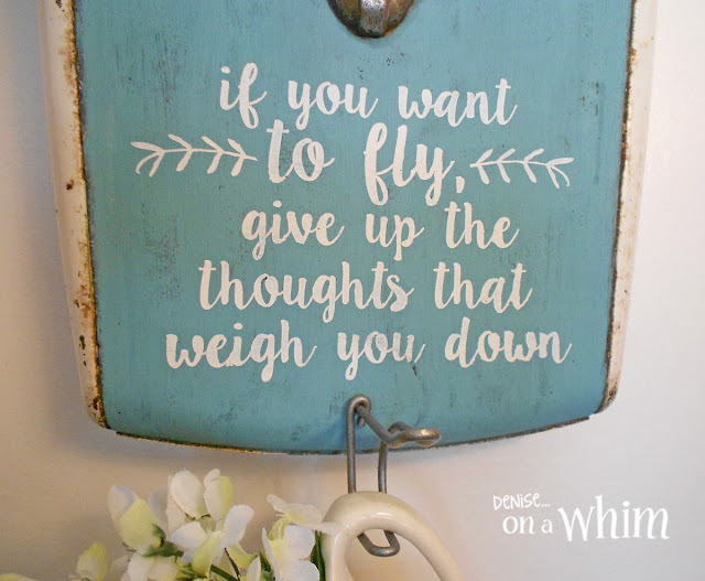 Stenciled Quote on a Vintage Scale Wall Hook | Denise on a Whim