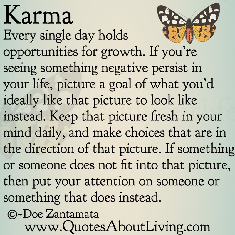 Karma Quotes Delectable Quotes About Living  Doe Zantamata Karma  Focus And Attention