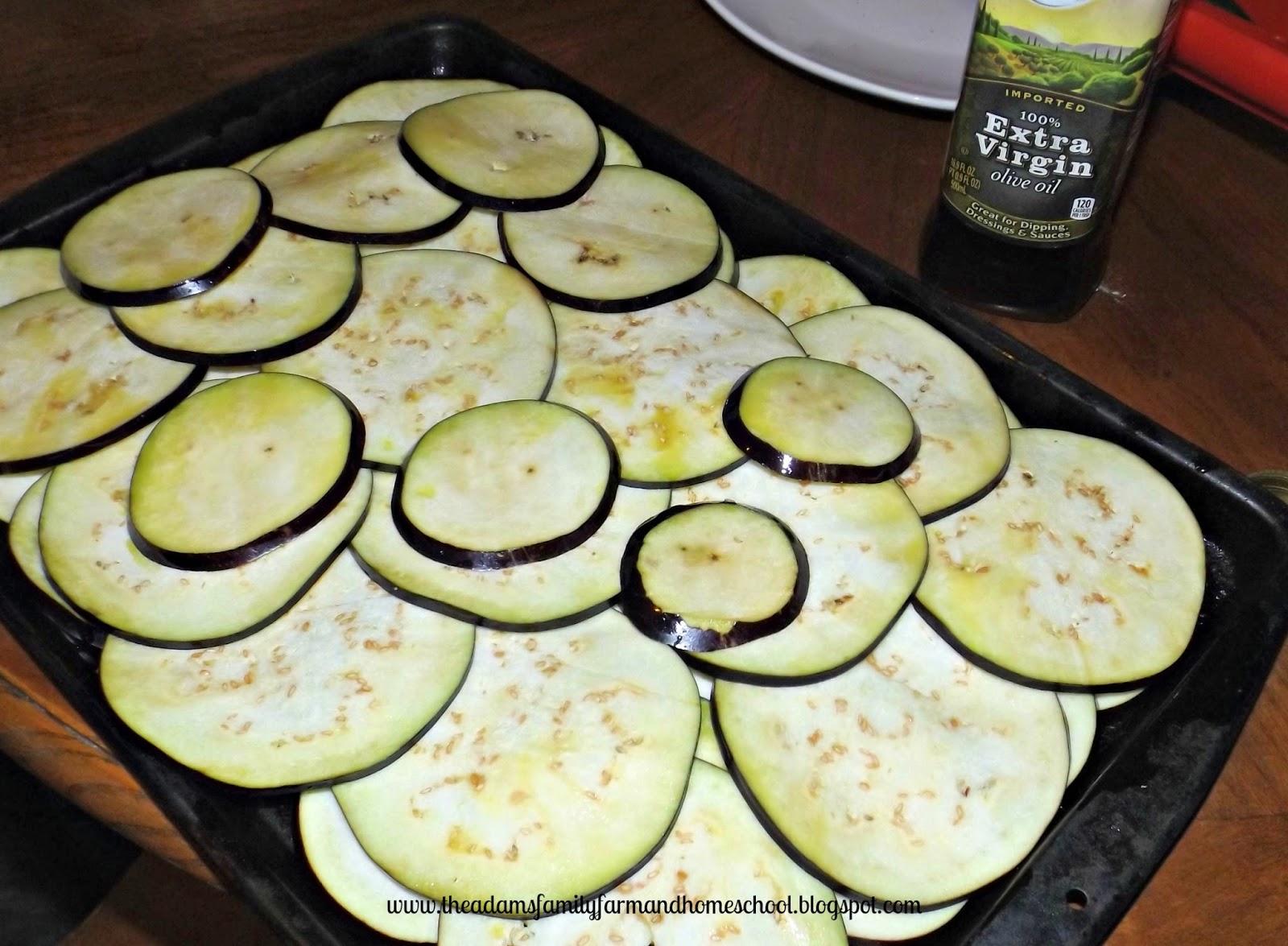 Eggplant Slices Ready to Roast