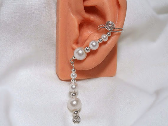 Pearl and Silver Ear Cuffs from ElegantEarCuffs