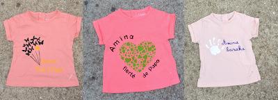 3 T-shirts pour une Petite Amina, ton rose, 3 mois, tout doux