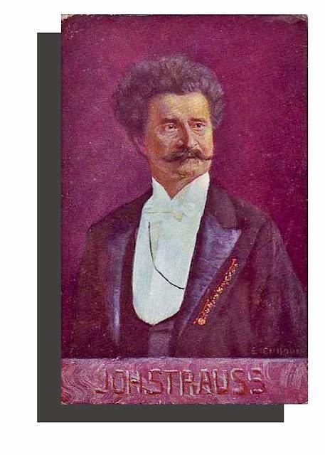 Johann Strauss II,Austrian composer - Antique Unused Austrian Artist Portrait Postcard, ca. 1900, Bruder Kohn