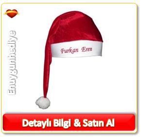 Kişiye Özel İsim İşlemeli Noel Baba Şapkası