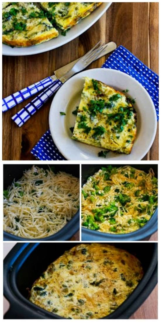 Slow Cooker Frittata with Broccoli, Swiss, Cottage Cheese, and Parmesan from Kalyn's Kitchen found on SlowCookerFromScratch.com