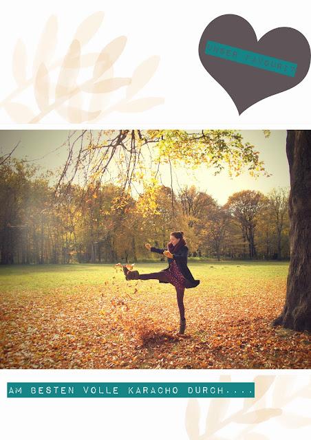 herbst, durch einen Blätterhaufen rennen