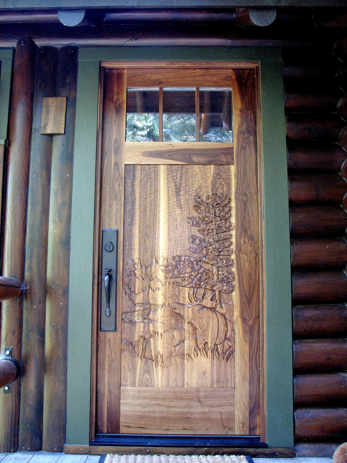 Black, walnut, entry, door, john, huisman, moose, wood, carving