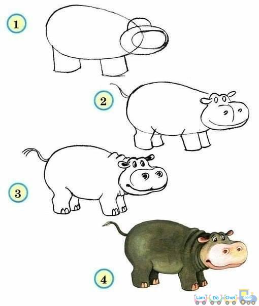 Cách vẽ một chú hà mã
