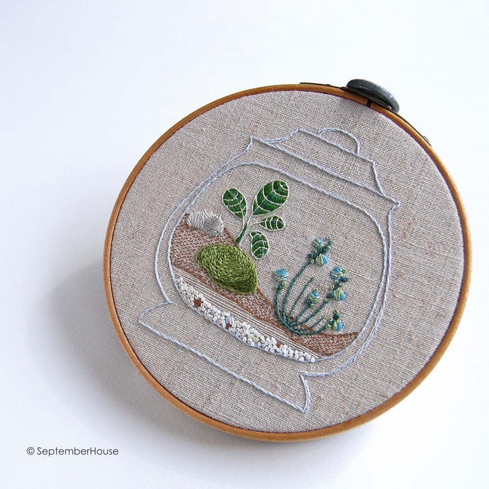 Terrarium hand embroidery pattern by SeptemberHouse