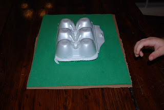 Preschooler can use egg carton to make a craft about mountains