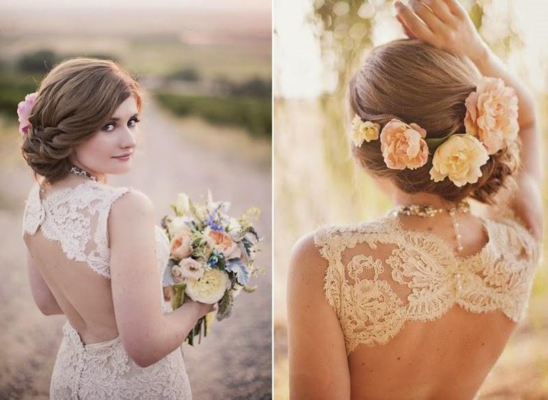 Живые цветы для свадебной прически