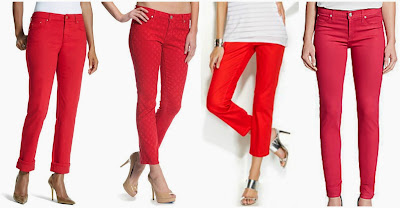 Chico's Platinum Denim Renaissance Red Boyfriend Jeans $20.00 (regular $89.00)  Agave Denim Paloma Crop Pants $26.95 (regular $79.95)  INC Cropped Colored Skinny Jeans $49.99 (regular $69.50)  Hudson Nico Mid Rise Super Skinny Jeans $69.99 (regular $176.00)