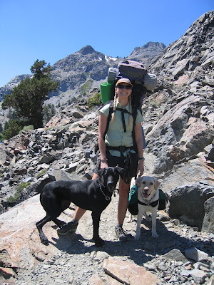 Career change dog yellow Lab Lourdes with her adopter, Elaine Zilonka and Ruby, a black lab/greyhound mix, on the hiking trail.