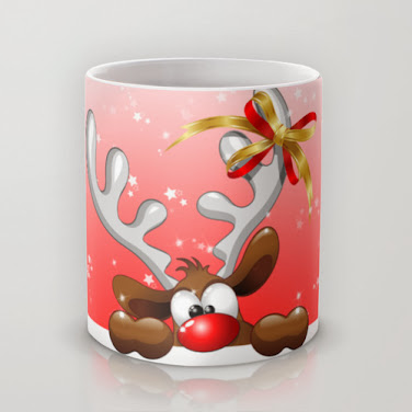 #Funny & Cute #Christmas #Reindeer #Cartoon Mugs