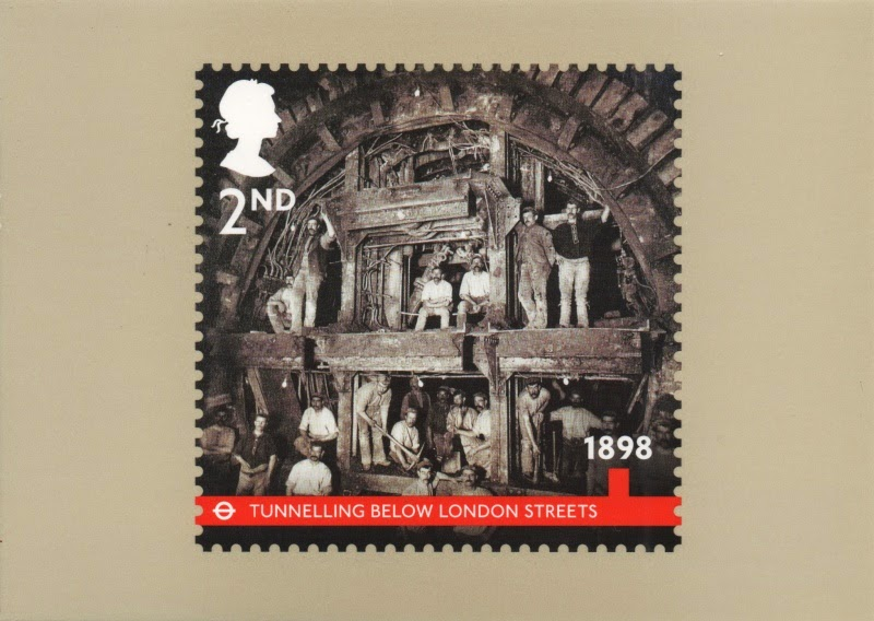 stamp card showing men tunnelling for the London Underground