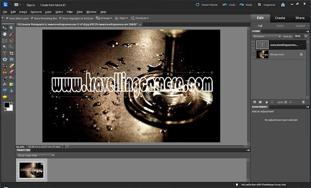 Text Blending is defined in various ways and many folks want to use Text Blending on their photographs. Here we are trying to share the basic way of applying it and the method used should be helpful in understanding the way blending happens... So let's go step by step1. Open your photograph in Adobe Photoshop Elements Editor2. Select Text-Tool from left side of Adobe Photoshop Elements and type text you want to have on top of your photograph.3. Make sure that Text Layer is selected.4. Go to Layers Menu and go to 'Layer Style' & then 'Style Settings'5. Check 'Storke' and put it between 1 to 6... Ensure that appropriate color is selected for Stroke6. Now go to Layer Mode and Select 'Exclusion'7. It will make the Text area transparent and boundary will show the text on top of it.