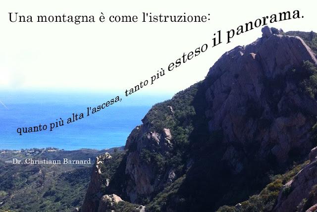 """""""Una montagna è come l'istruzione, quanto più alta l'ascesa, tanto più esteso il panorama"""" quote by Dr. Christiaan Barnard by Alex for didattichiamo"""