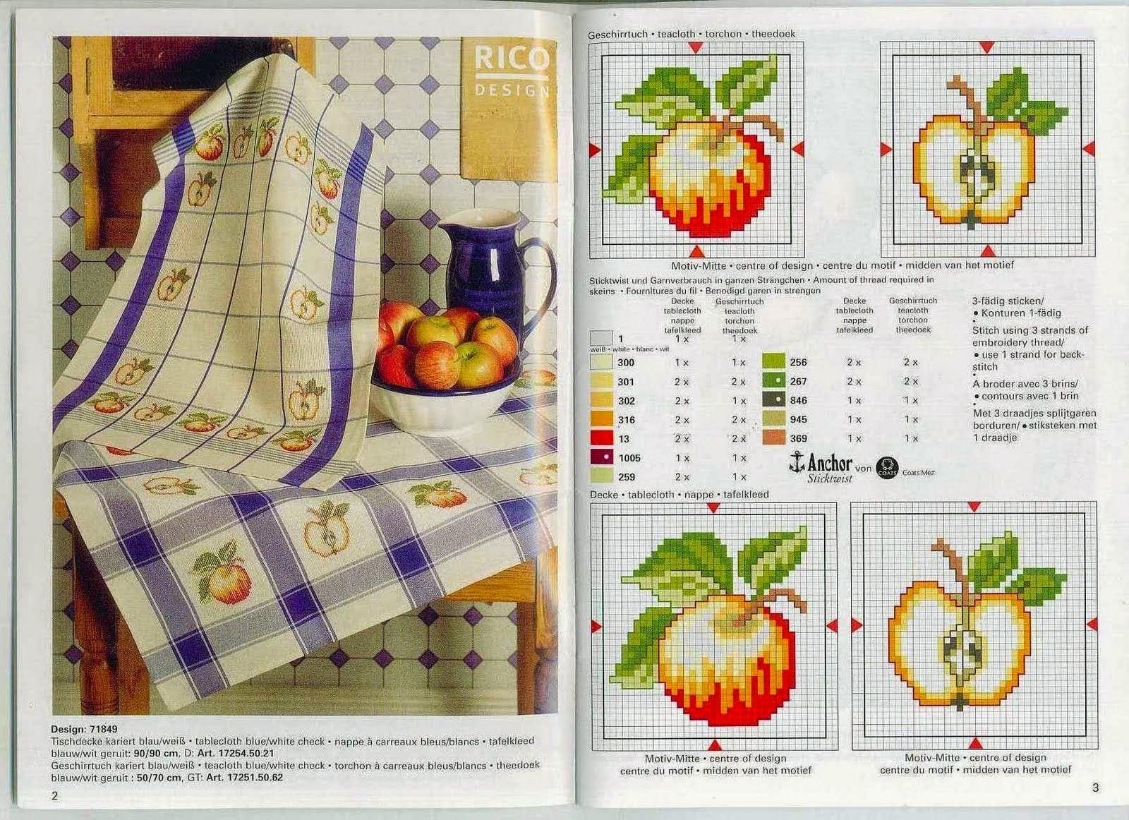 Схема вышивки крестом яблоки 63