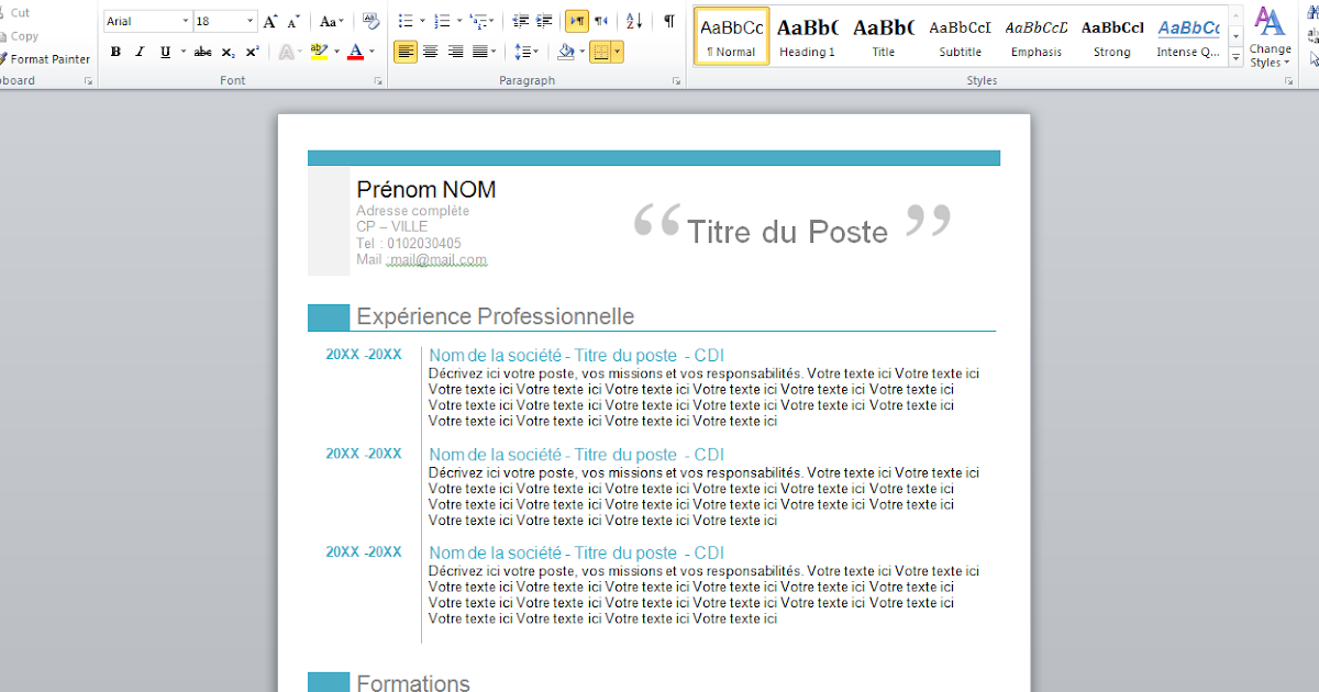 download free professional curriculum vitae format word