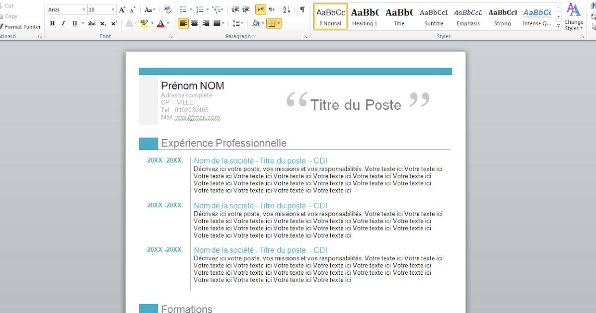 download free professional curriculum vitae format word